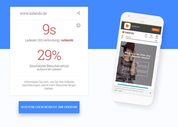 Screenshot Ladezeit mobile Website