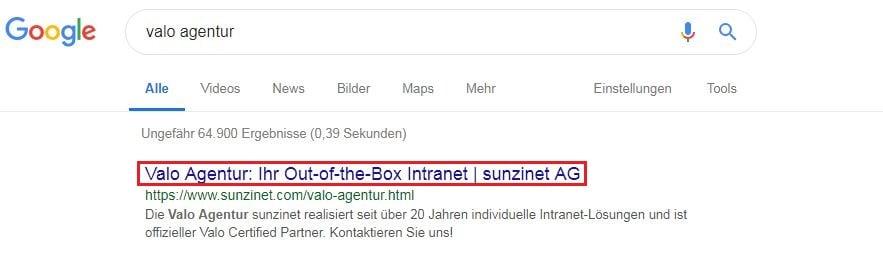 Screenshot Title Tag Google Ergebnisse