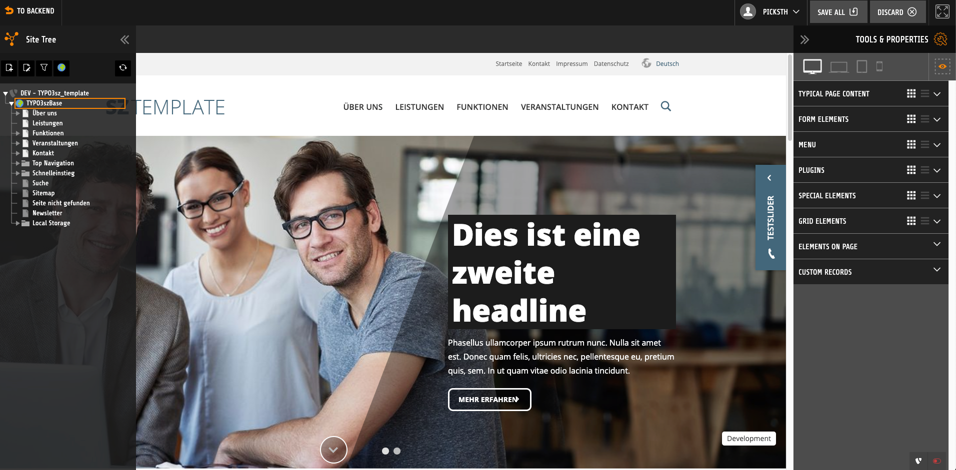 typo3-frontend-editing-screenshot-sunzinet
